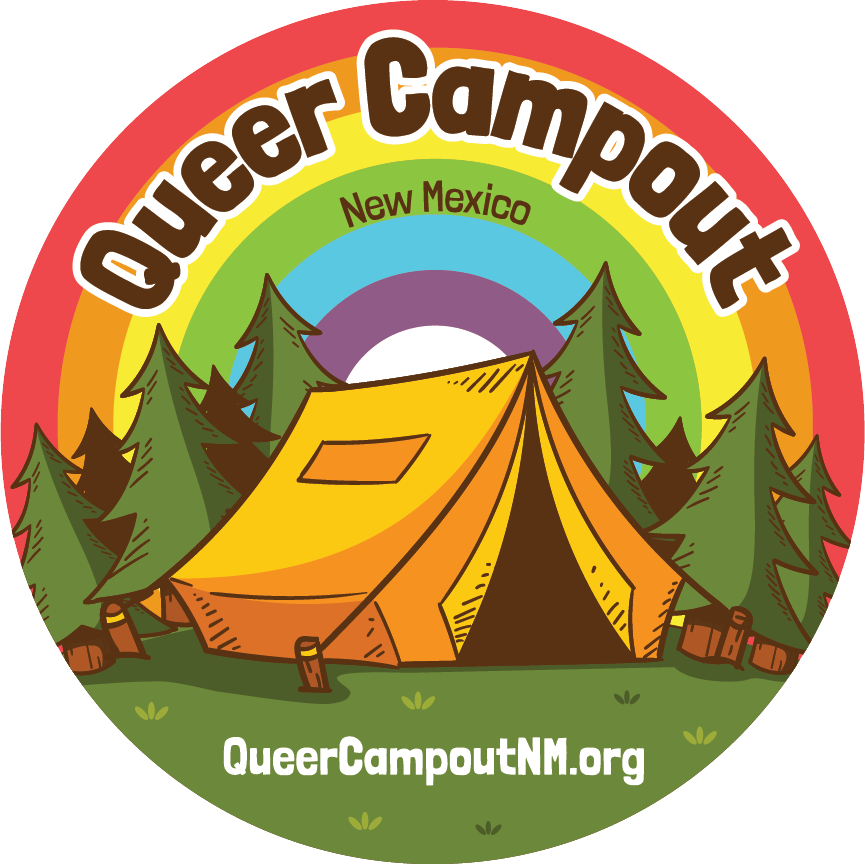 Round illustration of a yellow tent in a forest, in the background is a rainbow. Above is text that says Queer Campout New Mexico.